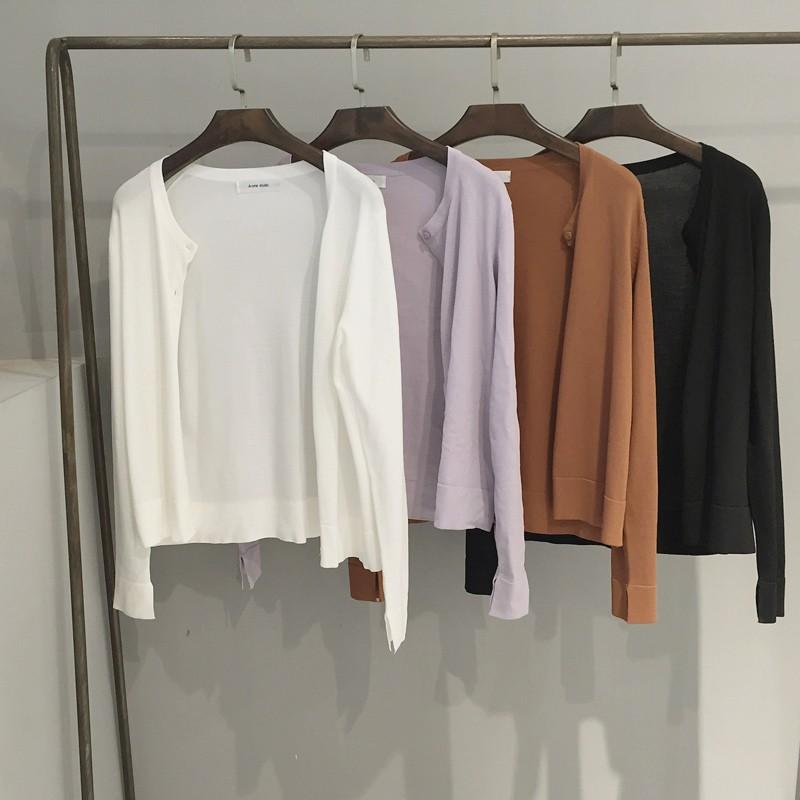 早秋 女裝新品純色開叉長袖圓領短款防曬衫薄款小外套針織開衫