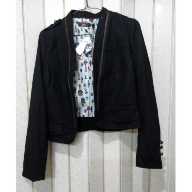 Veeko Wanko 羊毛黑色西裝外套騎士外套夾克軍裝外套 風軍外套短版