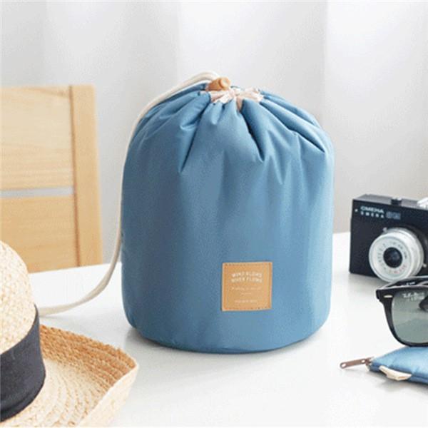 圓筒式大容量分層防水韓國旅行洗漱化妝包