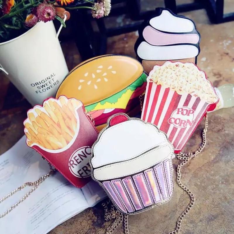 KUSO 趣味可愛 卡通 獨特鏈條小包側背包單肩包薯條爆米花冰淇淋漢堡蛋糕 包