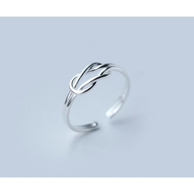 皇后銀飾雙層菱形戒指簡約繩結線條開口食指戒不過敏925 純銀J8