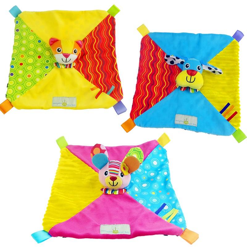 [熊爸爸]嬰兒用品兔子小虎小狗助眠巾手拿玩具安撫巾三款