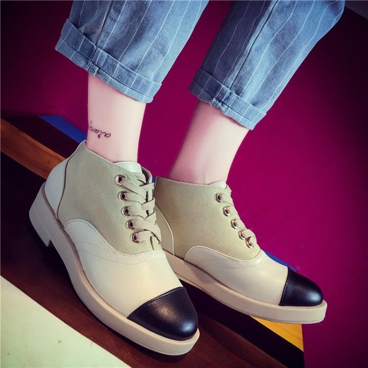 歐洲站2016 春秋 圓頭舒適百搭裸靴系帶拼色中跟馬丁靴女短靴