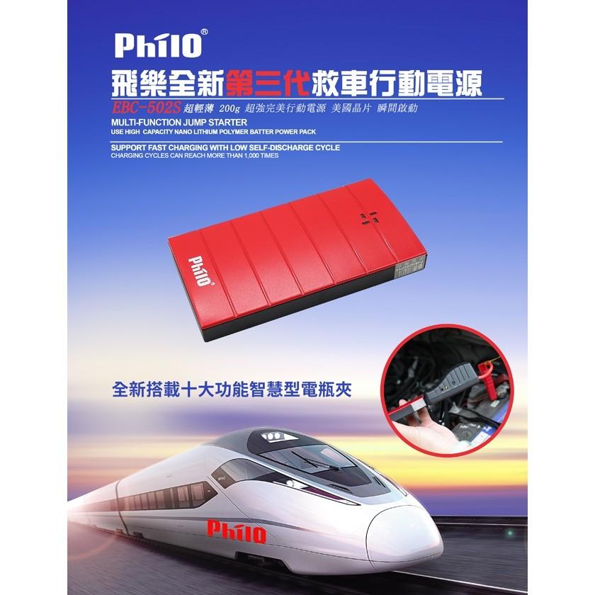 價↘1750 飛樂Philo EBC 502 紅微電腦智慧型電瓶夾進階版救車行動電源附贈