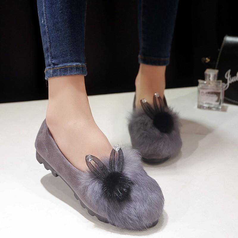 日系 蝴蝶結兔毛豹紋棉瓢鞋淺口加絨豆豆鞋平底毛毛鞋女單鞋潮