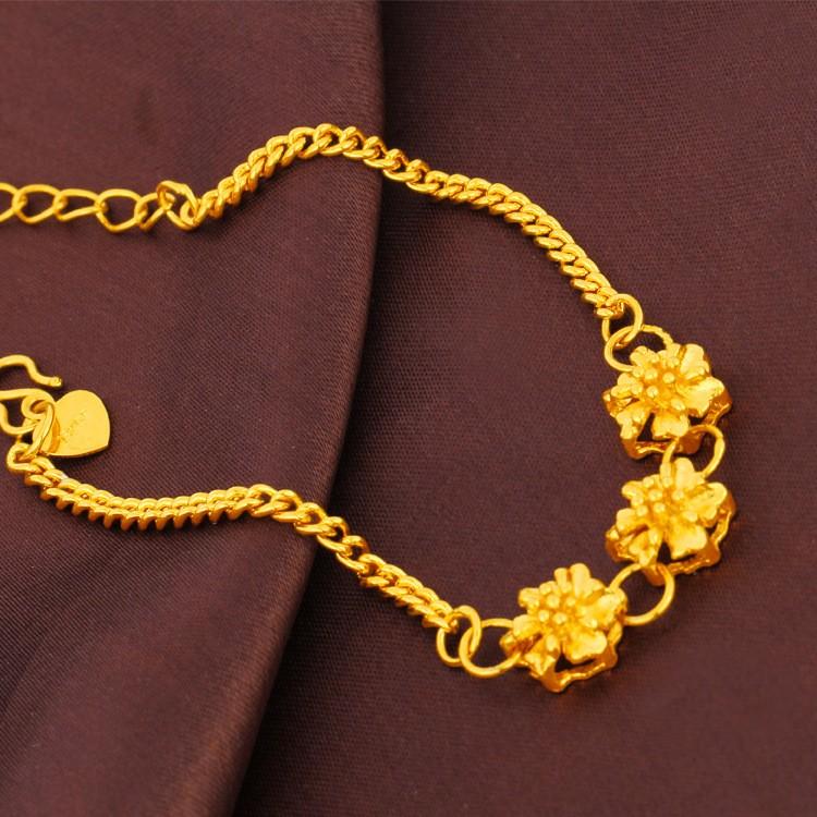 ~贈包裝 ~ 首飾18k 花朵愛心手鏈女士飾品手鏈高仿黃金小花手鏈24k 仿金鍍金手鍊