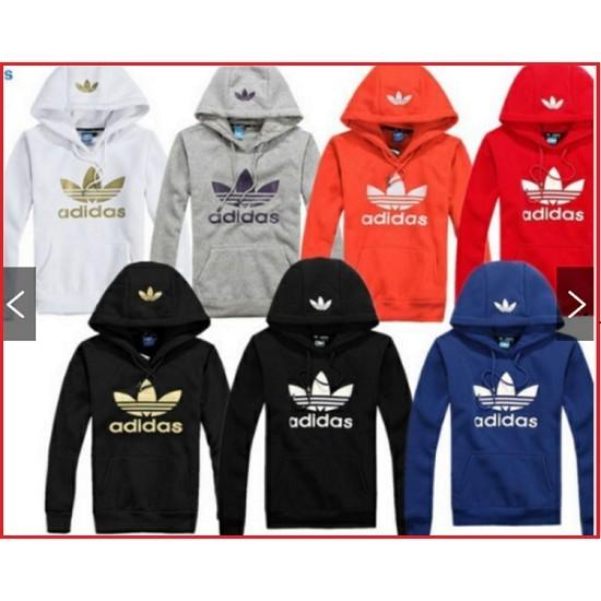 Adidas 愛迪達adidas 三葉草男女印花帽衫三葉草情侶衛衣 保暖衛衣長袖帽T