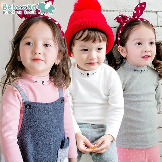 ⛱ ⛱韓國Bebezoo 男童女童 款貓咪刺繡純棉舒適小高領長袖打底內搭衣內衣上衣