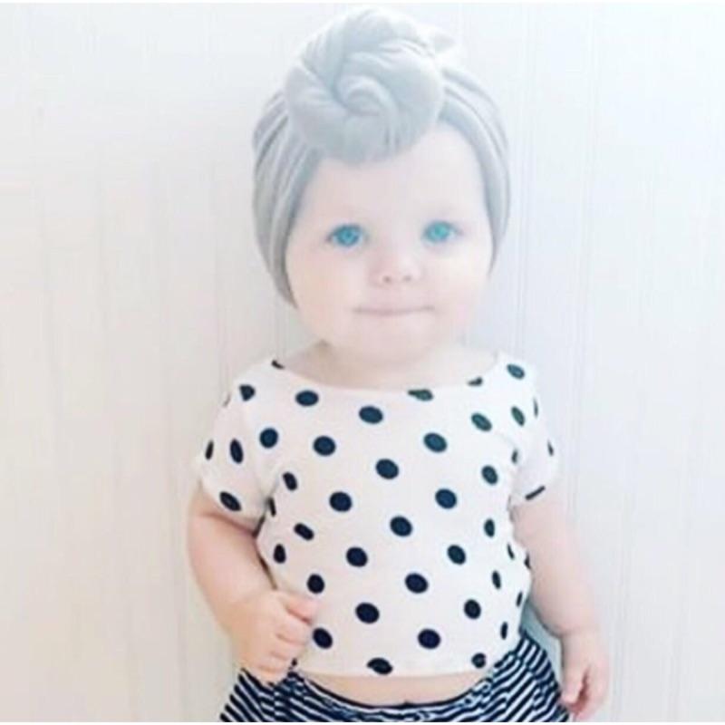 爆款 女寶寶黑白圓點短袖T 恤上衣線條小褲褲短褲三角褲女童兩件式套裝