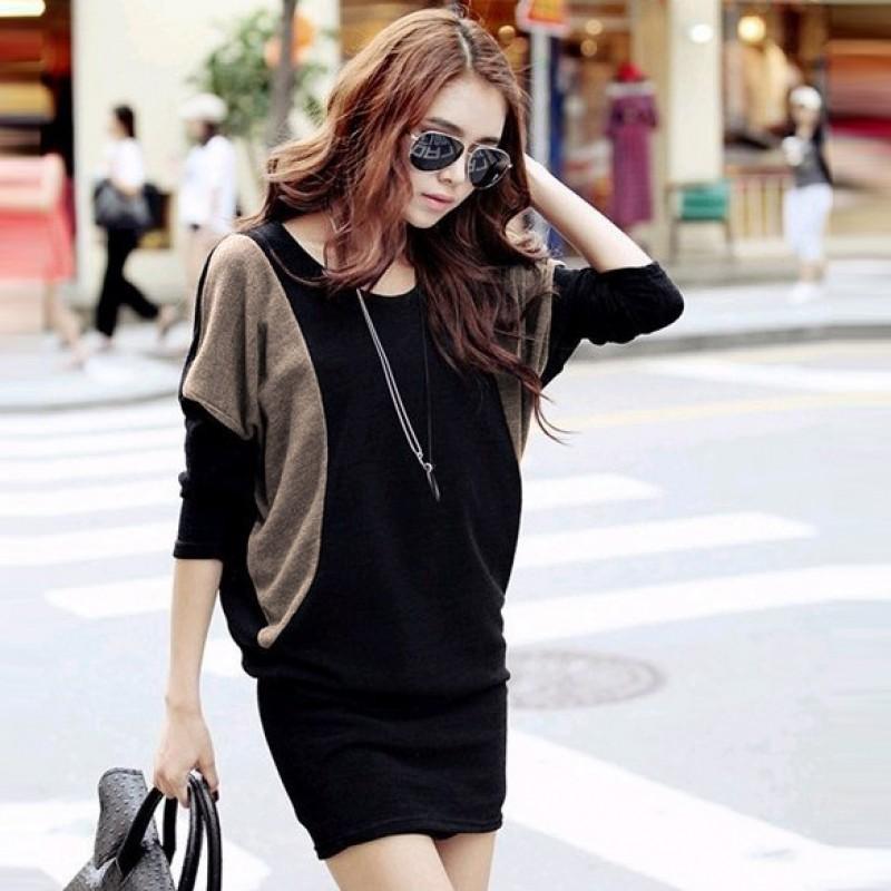 FINEJO ❤韓國 款女裝蝙蝠長袖包臀顯瘦洋裝連衣裙