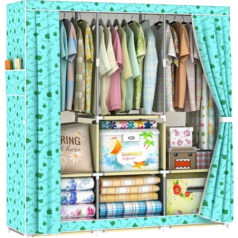 簡易衣柜窗簾式布衣櫥大容量多格收納柜一件代發 包郵400403F