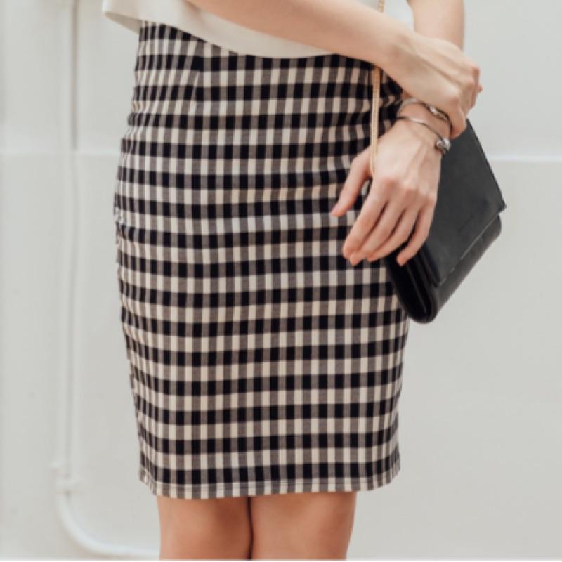 黑白格紋後開岔鬆緊窄裙