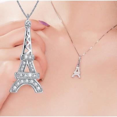 S925 純銀項鏈巴黎戀人甜美 鎖骨鏈巴黎鐵塔艾菲爾鐵塔