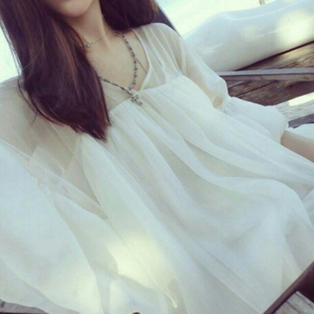 ( )寬鬆大碼顯瘦喇叭中袖白色均碼雪紡衫