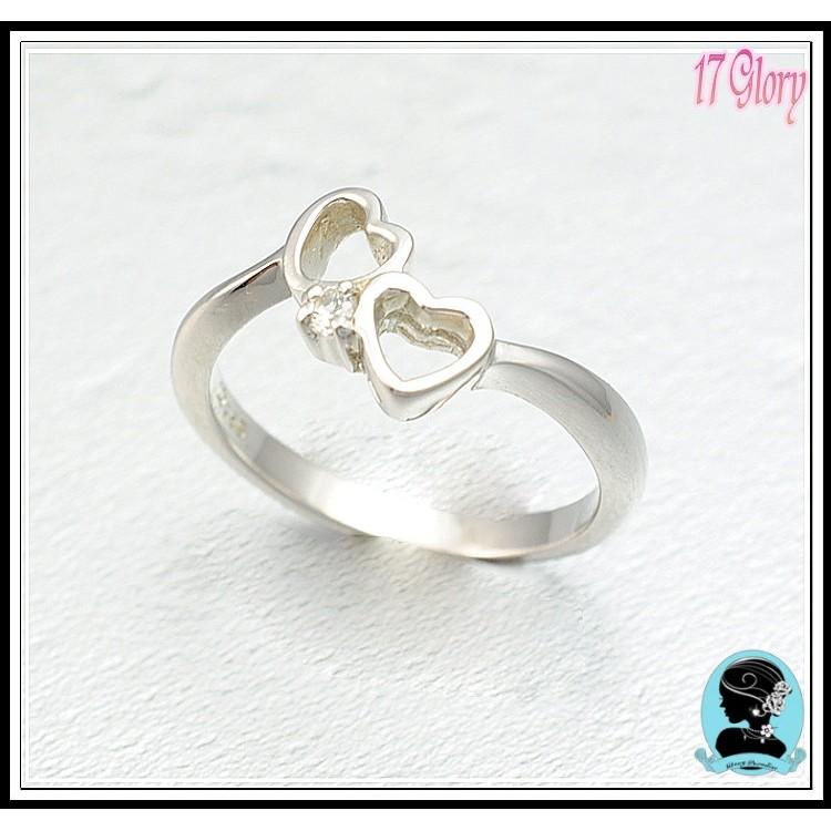 我的甜心心心相印如鑽石閃亮永恆小925 純銀戒指  款訂情約會 ✽17 Glory ✽
