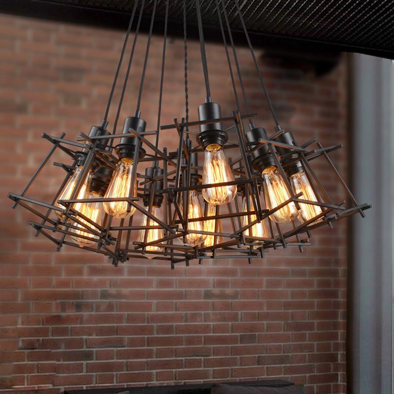 312 美式鄉村 餐廳吧台網咖 服裝店鳥籠復古工業鐵藝方吊燈單頭
