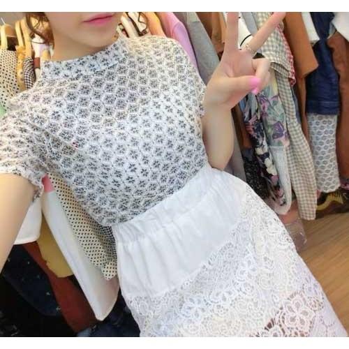 韓國韓貨法式簍空短袖刺繡碎花朵蕾絲衫小高領全蕾絲上衣針織衫類旗袍pazzo 可參考