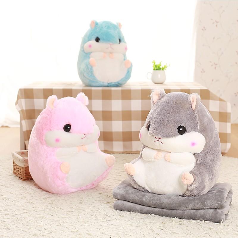 聖誕節  日系可愛倉鼠毛毯抱枕倉鼠毯子靠枕汽車靠墊 生日 情人節