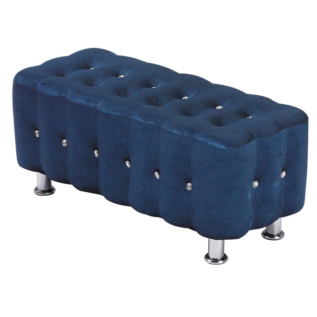 ~昱陽傢俱~藍絨布 長方凳沙發椅凳輔助椅收納置物休閒椅 品三色 紅色藍色灰色~桃園以北免