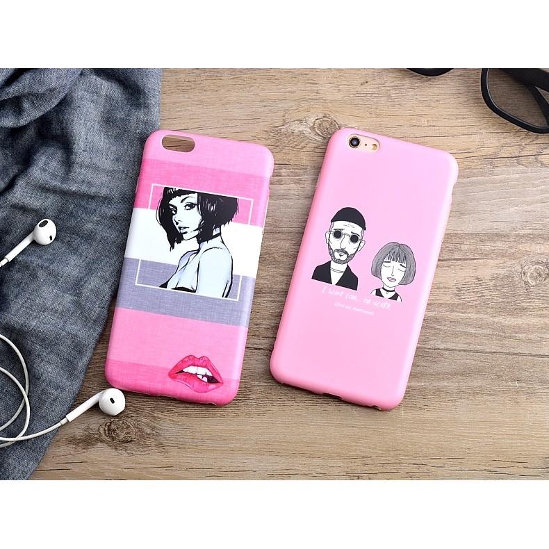 韓國情侶殺手手繪塗鴉粉色iPhone 6 s plus 手機殼軟殼