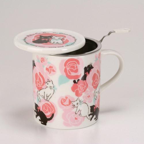 肥熊熊 製吉澤深雪Miyuki Yoshizawa 馬克杯咖啡杯水杯茶杯玫瑰黑白貓
