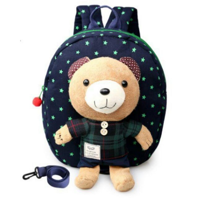 小熊防走失後背包兒童點點可愛背包小熊可拆