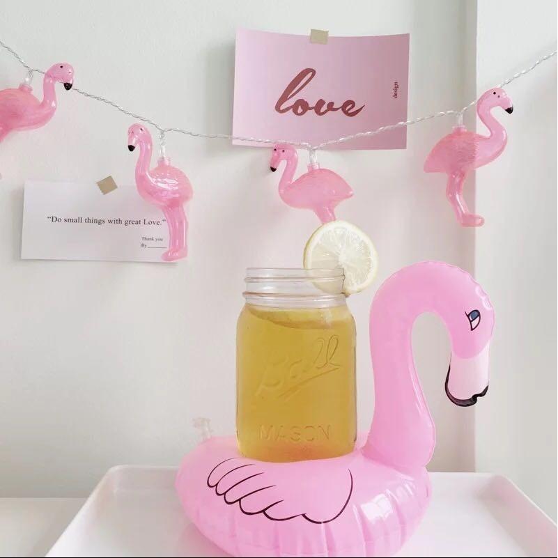 可愛充氣甜甜圈火烈鳥漂浮杯架可樂啤酒飲料杯座手機座泳池玩具海邊度假沙灘 天鵝獨角獸金天鵝黑
