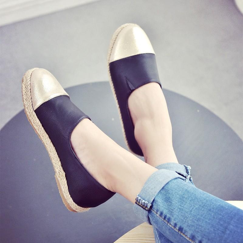 ~風雅軒~一腳蹬懶人鞋平跟草編漁夫鞋女平底單鞋 小白鞋樂福鞋 女鞋