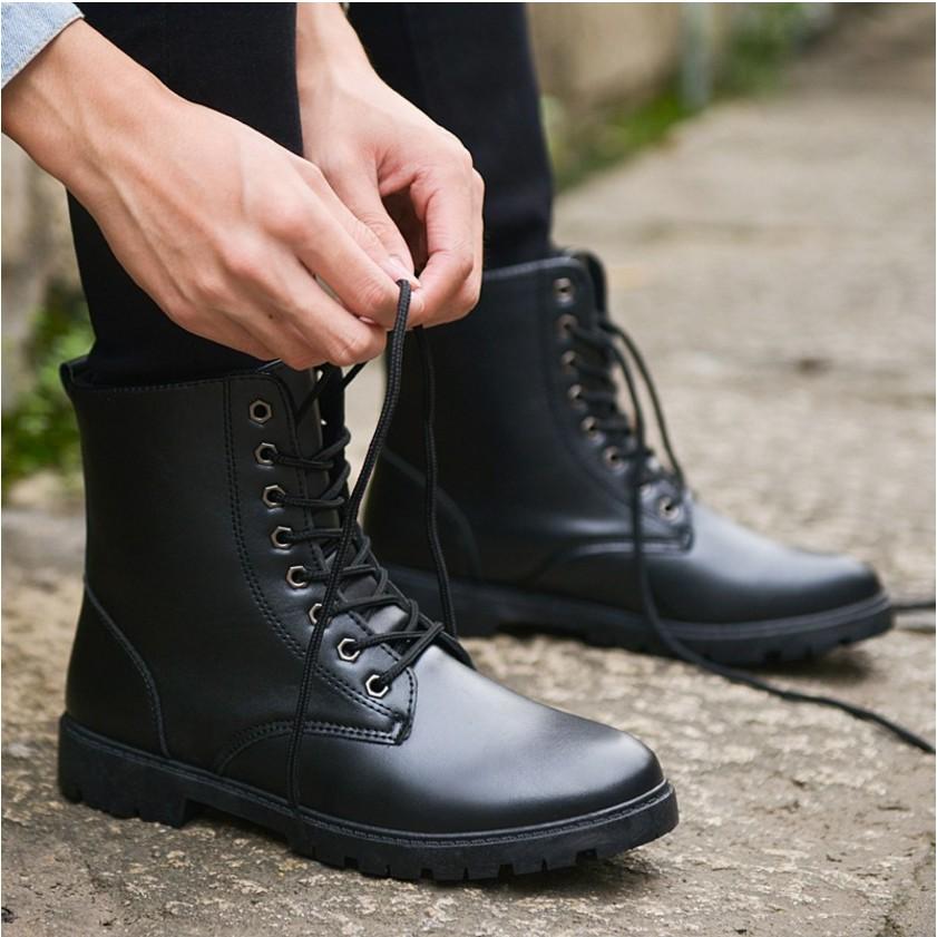 秋 靴子男靴英倫潮流馬丁靴短靴軍靴沙漠 高幫潮男皮靴
