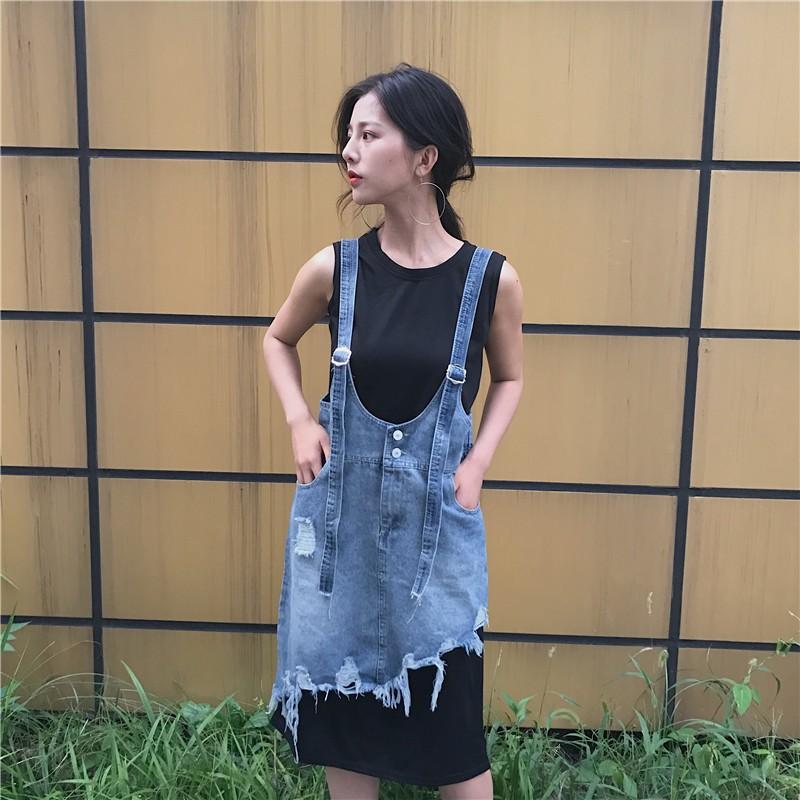 ~ 新品~ 實拍ღ2017 韓國港味不規則破洞牛仔吊帶背帶裙素色無袖背心長款T 女生衣著