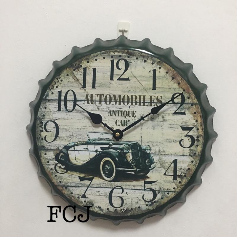 復古風格瓶蓋時鐘復古車款時鐘復古車款瓶蓋時鐘時鐘鐵製瓶蓋 時鐘裝潢 裝飾品掛飾
