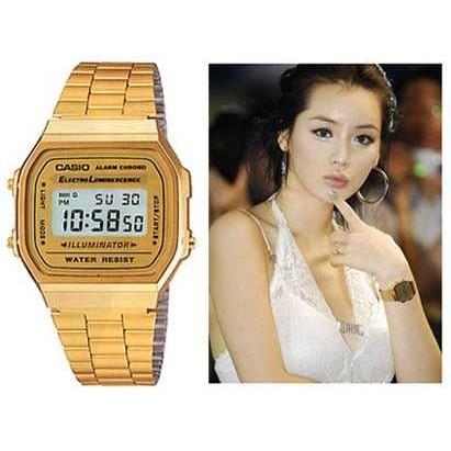 秀CASIO 手錶金色錶歷久不衰 A 168WG 9W 街頭男女潮流 CASIO 貨A16