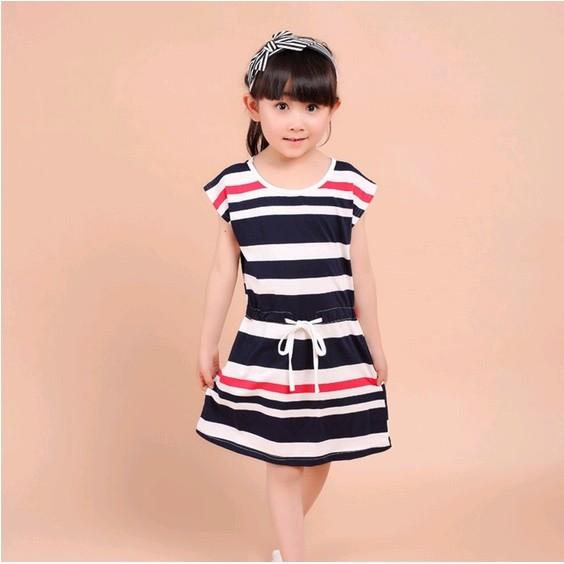 圓領海軍風條紋繫帶短裙女童 連身裙連衣裙