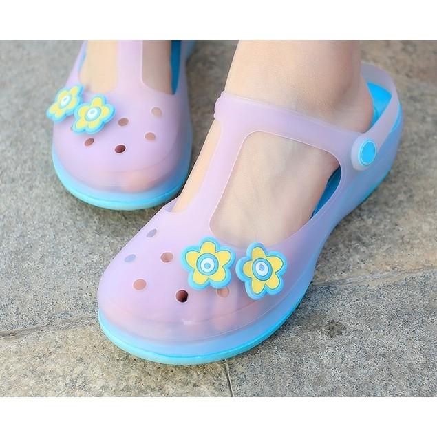 透氣果凍平底防滑塑膠學生沙灘鞋洞洞鞋女鞋百搭厚底林肯鞋粉紫綠黃藍