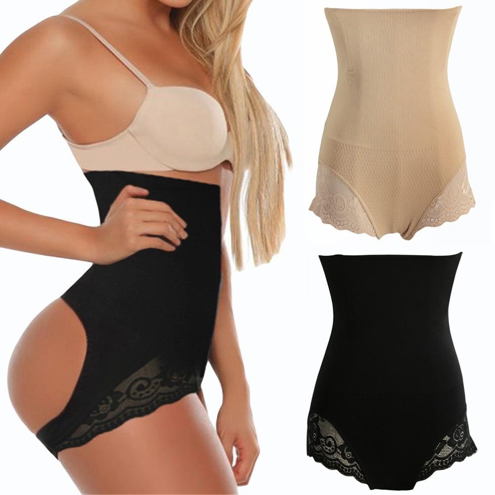 女裝塑身收腹內褲蕾絲拼接性感露臀無痕高腰高彈力產後收腹舒適透氣美體褲束腰內褲