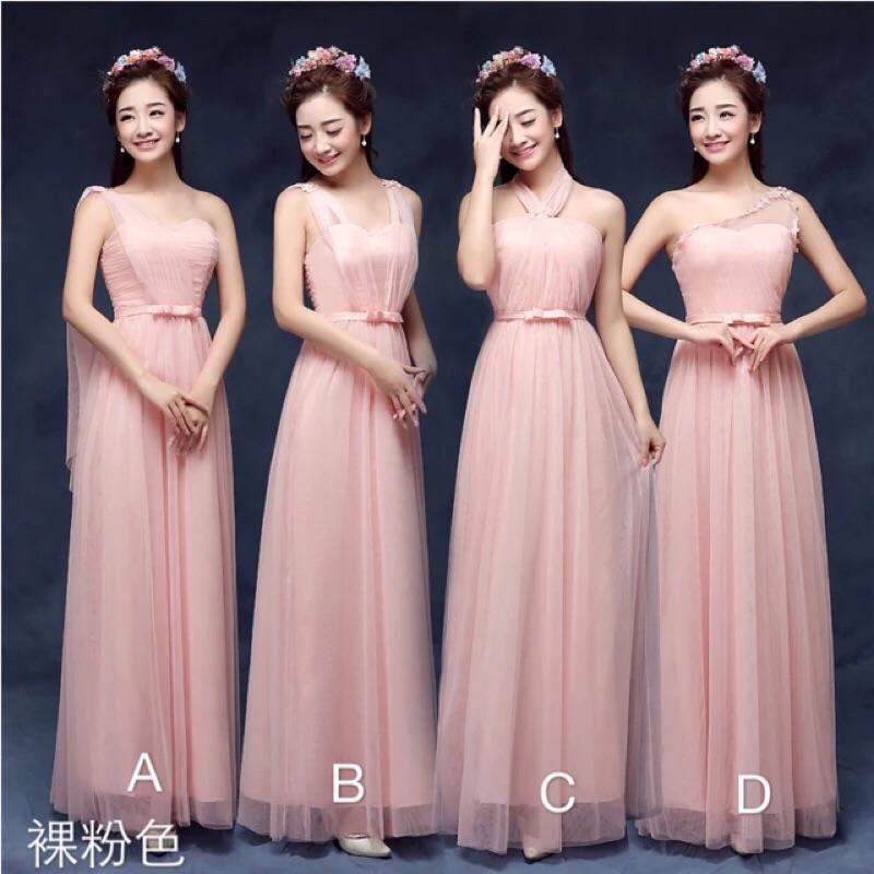 韓式平口單肩雙肩伴娘服長禮服表演服宴會服