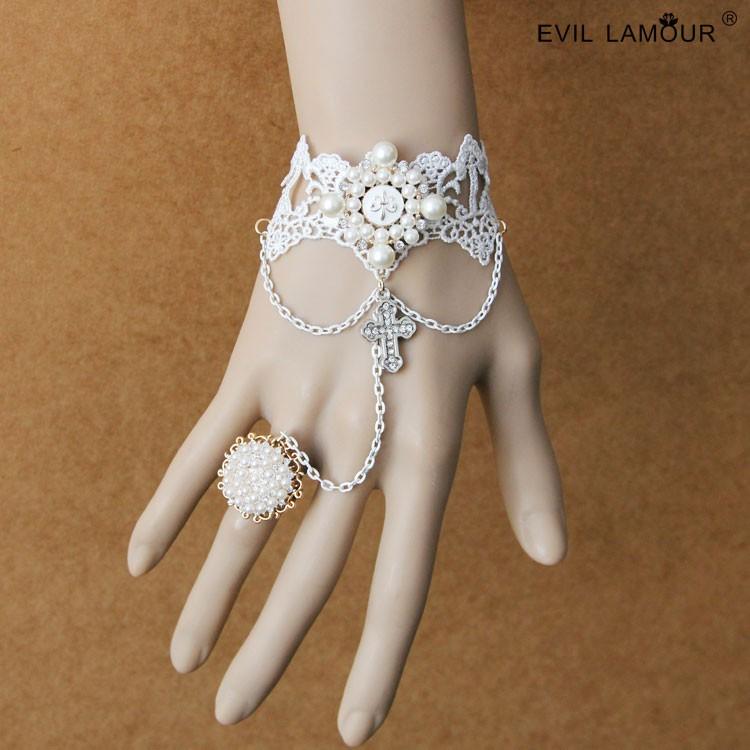 多圖貓熊繽雰原創飾品LOLITA 宮廷風復古手袖手鏈連戒指一體鏈女生閨蜜好友 白色天使婚紗