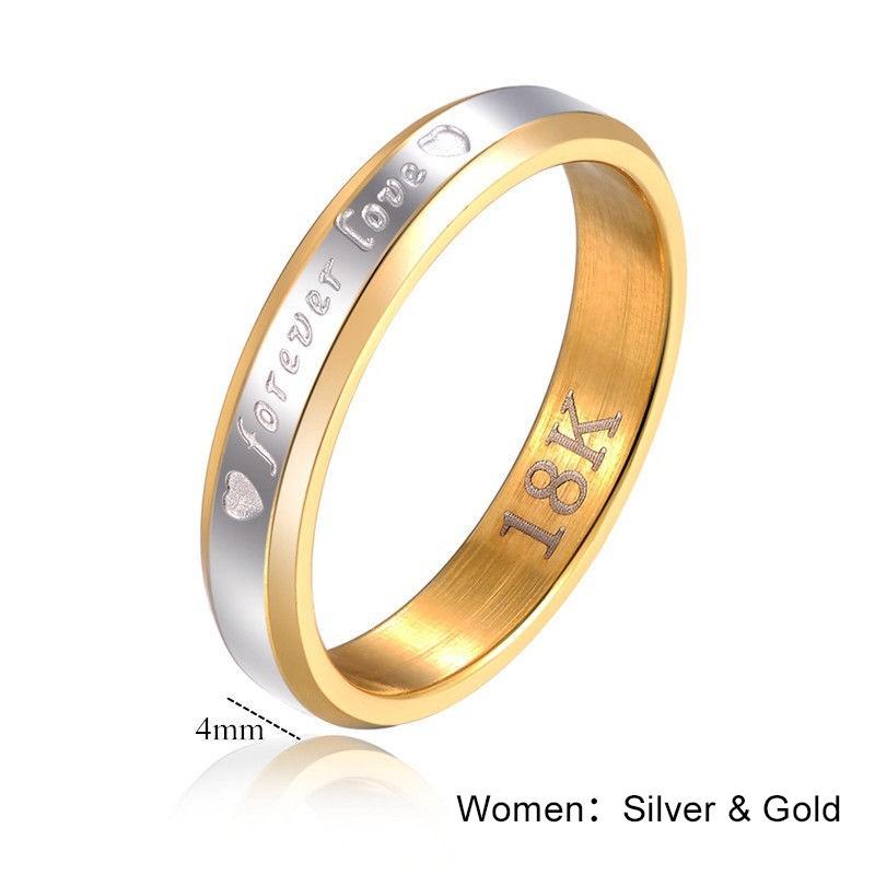 永遠的愛英文刻字18K 白金情侶對戒指環4 毫米戒指