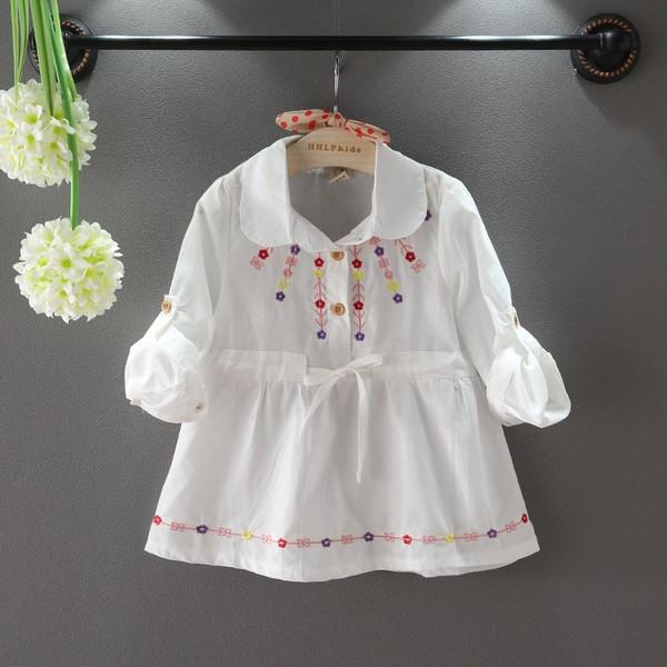 ~耐心等候~2017 女童春裝 女童刺繡翻領襯衫兒童甜美娃娃衫連衣裙
