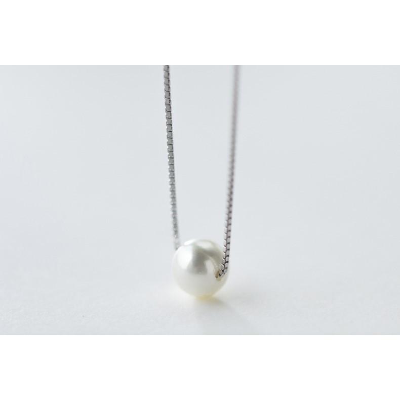 純銀飾品S925 銀項鍊女 小清新單顆貝珠珍珠項鍊氣質短款鎖骨鏈女D2904