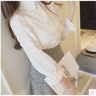 襯衫女生2017 韓國春裝 甜美氣質蕾絲袖翻領襯衫早秋修身白色蕾絲女襯衣短袖襯衫七分袖襯衫