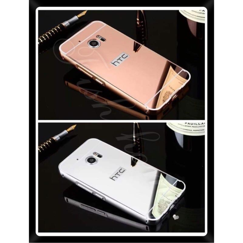 HTC 10 電鍍金屬邊框推拉式鏡面背板鋁合金亞克力後蓋手機保護殼