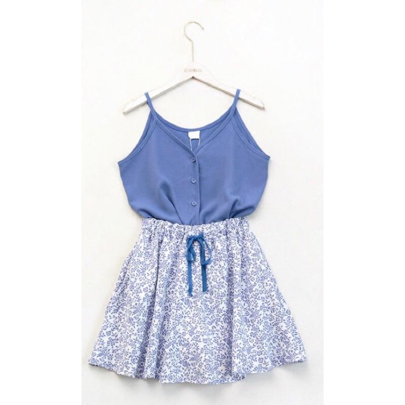 套裝清新雪紡吊帶背心碎花半身裙兩件套