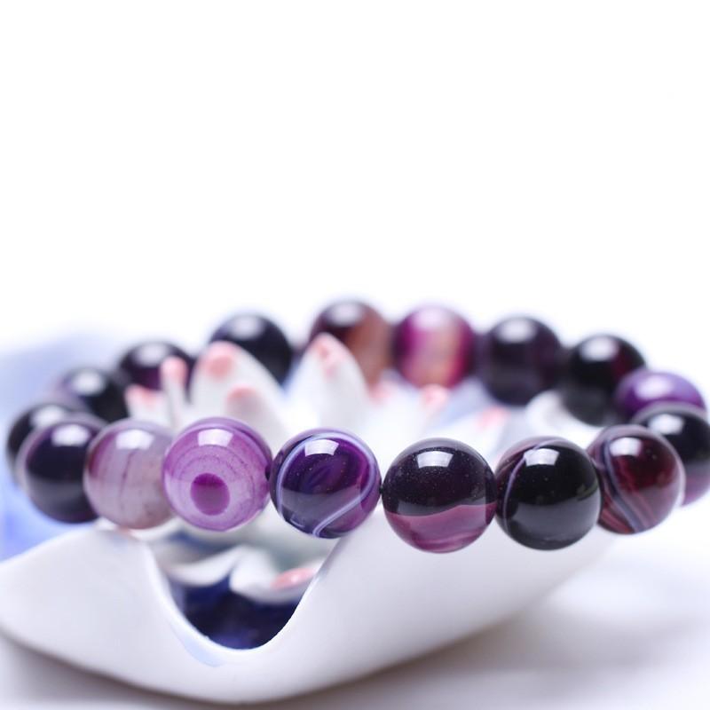 ( 、、還是 )天然紫條紋瑪瑙手鏈女水晶飾品男士首飾手串佛珠女款手飾情侶