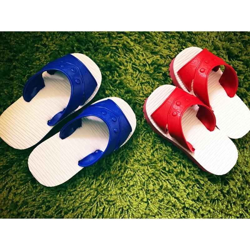 寶寶藍白拖鞋童拖鞋 文青復古耐磨耐穿防水 藍色紅色輕便好穿脫
