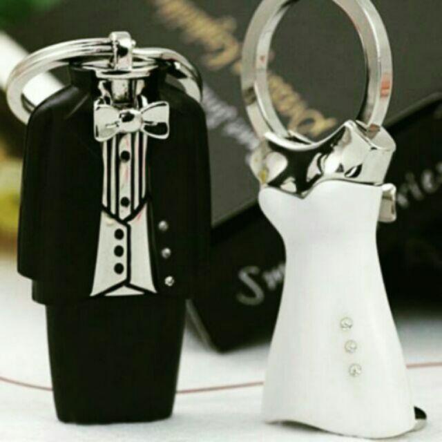 ❤婚禮小物❤新郎新娘西裝禮服水鑽鑰匙圈 伴郎禮伴娘禮