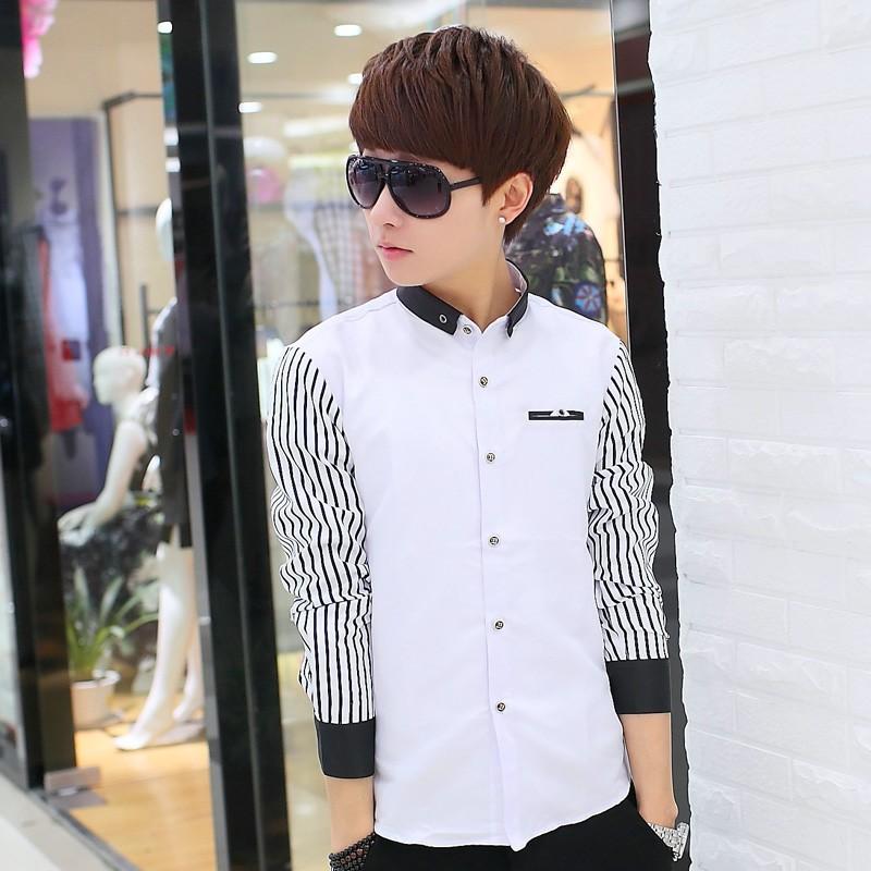 潮流單品 條紋長袖襯衫男士 修身型青少年 白色襯衣潮男裝衣服寸