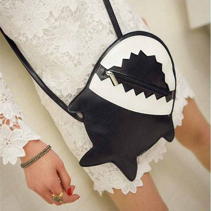 2016 信封包 鯊魚 斜挎背包超萌搞怪趣味小鯊魚單肩包小鯊魚斜背包