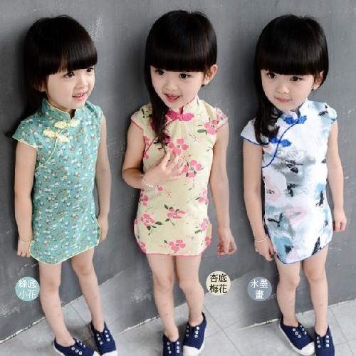 [熊爸爸]洋裝復古旗袍式碎花連身裙三色