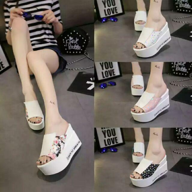 韩版 一字拖高跟松糕凉鞋女厚底坡跟真皮凉拖女鞋沙滩拖鞋
